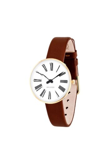 WATCH AJ/ROMAN/53313-1407G/30mm/WHITE DIAL-IP GOLD BRUSHED CASE/BROWN LEATHER STRAP
