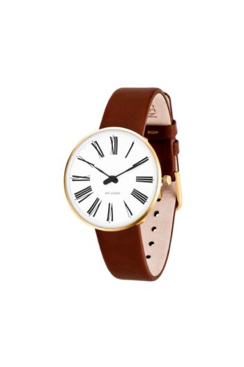 WATCH AJ/ROMAN/53306-1607G/34mm/WHITE DIAL-IP GOLD BRUSHED CASE/BROWN LEATHER STRAP