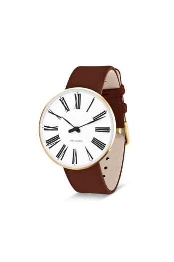 WATCH AJ/ROMAN/53308-2007G/40mm/WHITE DIAL-IP GOLD BRUSHED CASE/BROWN LEATHER STRAP