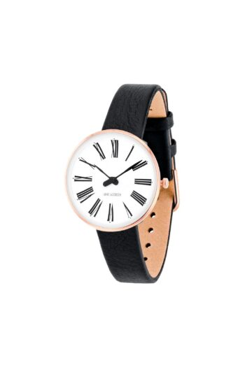WATCH AJ/ROMAN/53315-1401RP/30mm/WHITE DIAL-IP ROSE GOLD POLISHED CASE/BLACK LEATHER STRAP