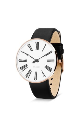 WATCH AJ/ROMAN/53312-2001RP/34mm/WHITE DIAL-IP ROSE GOLD POLISHED CASE/BLACK LEATHER STRAP