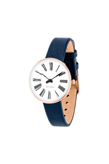 WATCH AJ/ROMAN/53315-1404RP/30mm/WHITE DIAL-IP ROSE GOLD POLISHED CASE/NAVY BLUE LEATHER STRAP