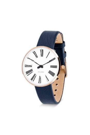 WATCH AJ/ROMAN/53311-1604RP/34mm/WHITE DIAL-IP ROSE GOLD POLISHED CASE/NAVY BLUE LEATHER STRAP