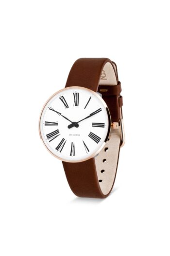 WATCH AJ/ROMAN/53311-1607RP/30mm/WHITE DIAL-IP ROSE GOLD POLISHED CASE/BROWN LEATHER STRAP