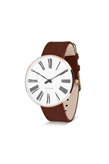 WATCH AJ/ROMAN/53312-2007RP/40mm/WHITE DIAL-IP ROSE GOLD POLISHED CASE/BROWN LEATHER STRAP