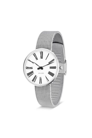 WATCH AJ/ROMAN/53301-1608/34mm/WHITE DIAL- STAINLESS STEEL CASE/STEEL MESH BAND