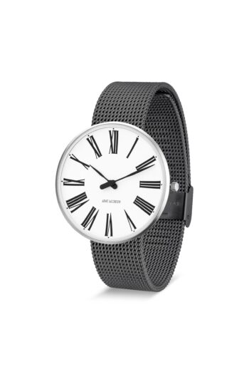 WATCH AJ/ROMAN/53302-2012/40mm/WHITE DIAL- STAINLESS STEEL CASE/GREY BRUSHED MESH BAND