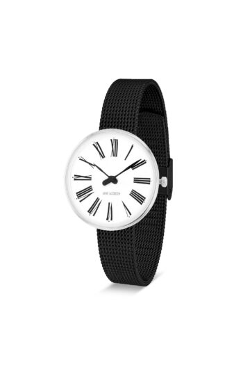 WATCH AJ/ROMAN/53300-1410/30mm/WHITE DIAL- STAINLESS STEEL CASE/BLACK BRUSHED MESH BAND