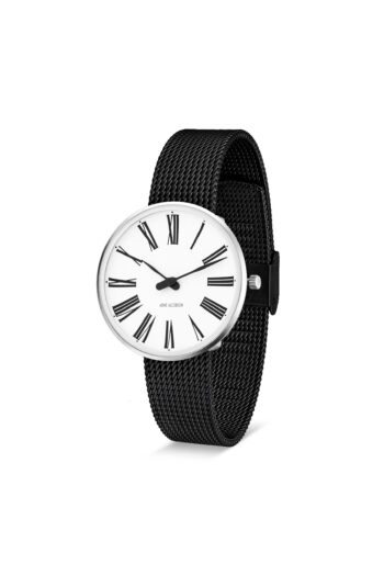 WATCH AJ/ROMAN/53301-1610/34mm/WHITE DIAL- STAINLESS STEEL CASE/BLACK BRUSHED MESH BAND