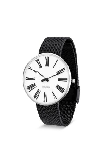 WATCH AJ/ROMAN/53302-2010/40mm/WHITE DIAL- STAINLESS STEEL CASE/BLACK BRUSHED MESH BAND