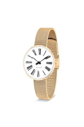 WATCH AJ/ROMAN/53313-1409/30mm/WHITE DIAL-IP GOLD BRUSHED CASE/GOLD MESH BAND