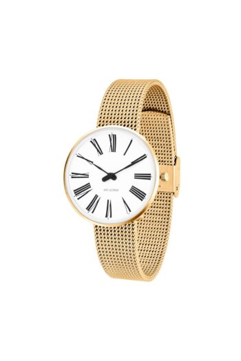 WATCH AJ/ROMAN/53307-1609/34mm/WHITE DIAL-IP GOLD BRUSHED CASE/GOLD MESH BAND