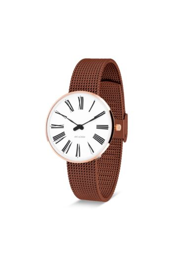 WATCH AJ/ROMAN/53311-1613/34mm/WHITE DIAL-IP ROSE GOLD POLISHED CASE/COPPER MESH BAND