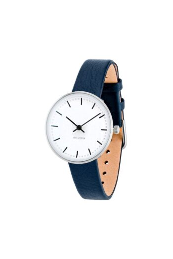 WATCH AJ/CITY HALL/53200-1404/30mm/WHITE DIAL- STAINLESS STEEL CASE/NAVY BLUE LEATHER STRAP