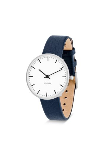 WATCH AJ/CITY HALL/53201-1604/34mm/WHITE DIAL- STAINLESS STEEL CASE/NAVY BLUE LEATHER STRAP