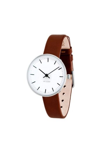 WATCH AJ/CITY HALL/53200-1407/30mm/WHITE DIAL- STAINLESS STEEL CASE/BROWN BLUE LEATHER STRAP