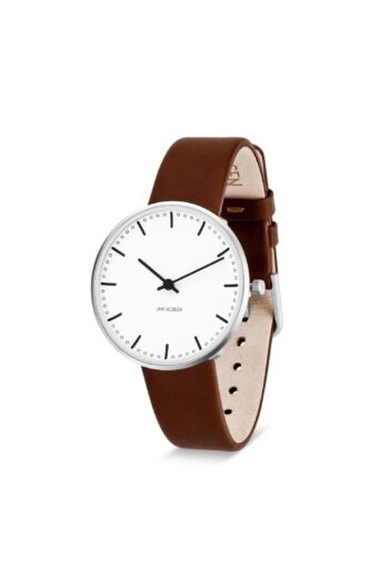 WATCH AJ/CITY HALL/53201-1607/34mm/WHITE DIAL- STAINLESS STEEL CASE/BROWN BLUE LEATHER STRAP