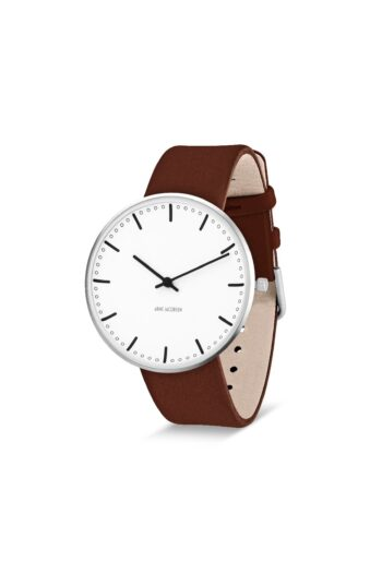WATCH AJ/CITY HALL/53202-2007/40mm/WHITE DIAL- STAINLESS STEEL CASE/BROWN BLUE LEATHER STRAP