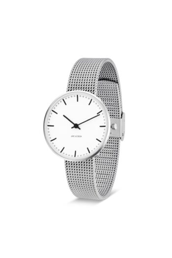 WATCH AJ/CITY HALL/53201-1608/34mm/WHITE DIAL- STAINLESS STEEL CASE/STEEL MESH BAND