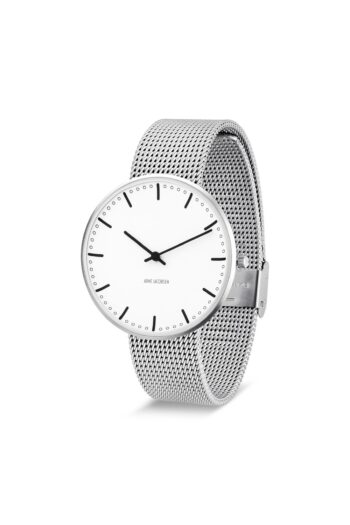 WATCH AJ/CITY HALL/53202-2008/40mm/WHITE DIAL- STAINLESS STEEL CASE/STEEL MESH BAND