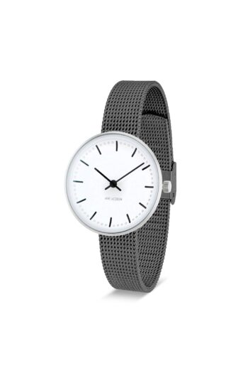 WATCH AJ/CITY HALL/53200-1412/30mm/WHITE DIAL- STAINLESS STEEL CASE/GREY BRUSHED MESH BAND