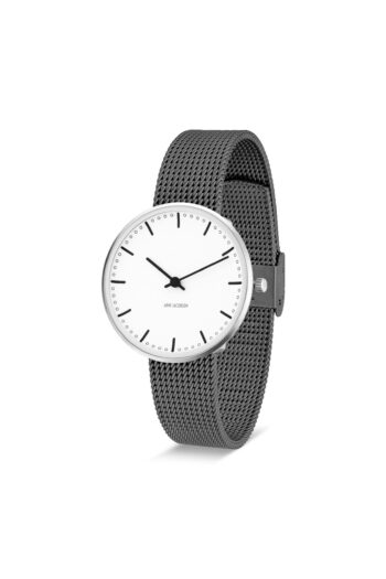 WATCH AJ/CITY HALL/53201-1612/34mm/WHITE DIAL- STAINLESS STEEL CASE/GREY BRUSHED MESH BAND