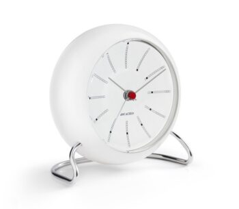 WATCH AJ/TABLE CLOCK -ALARM/BANKERS/43675/WHITE DIAL-WHITE CASE
