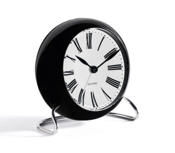 WATCH AJ/TABLE CLOCK -ALARM/ROMAN/43671/WHITE DIAL-BLACK CASE