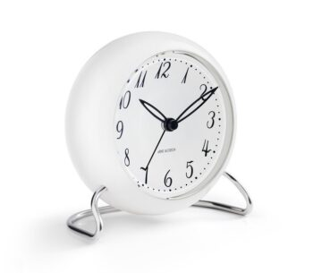 WATCH AJ/TABLE CLOCK -ALARM/LK 1939/WHITE DIAL-WHITE CASE
