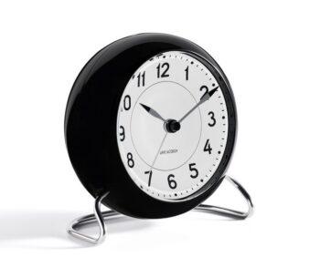 WATCH AJ/TABLE CLOCK -ALARM/STATION/43672/WHITE DIAL-BLACK CASE