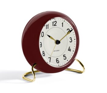 WATCH AJ/TABLE CLOCK -ALARM/STATION/43676/WHITE DIAL-BORDEAUX CASE