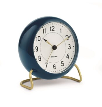 WATCH AJ/TABLE CLOCK -ALARM/STATION/43678/WHITE DIAL-PETROLEUM NAVY CASE