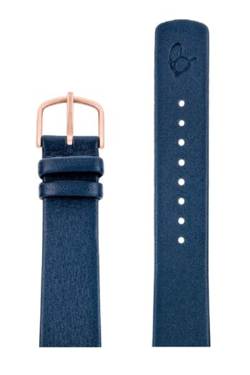 ΛΟΥΡΑΚΙ AJ/2004RP/40mm/NAVY BLUE LEATHER STRAP-RED GOLD POLISHED BUCKLE/WIDTH 16mm