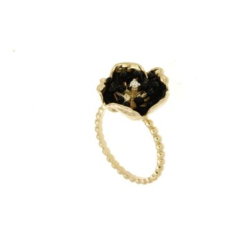 RING/ROBERTO BRAVO/BMHR0011-00/SMALL FLOWER WHITE ENAMEL-GAMPA WIRE