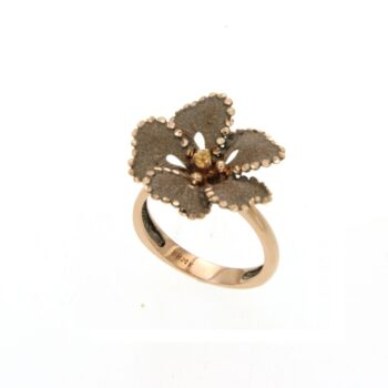 RING/ROBERTO BRAVO/SDHR0015-01/SMALL FLOWER-BROWN ENAMEL
