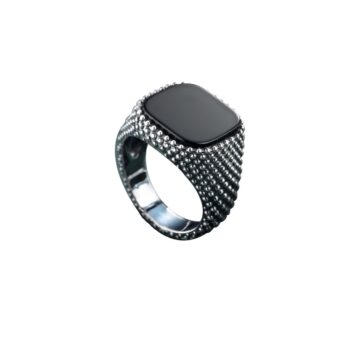 RING/MARCELLO PANE/ANBU028/WHITE SILVER-SQUARE BLACK ONYX CABOUSON