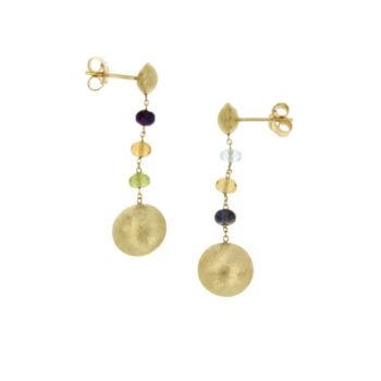 EARRING/MARBI-COL/6 MULTI COLOR STONES/ROUND 1* 1.1cm & 1*0.7cm/CHAIN ROUND DIAMANTE