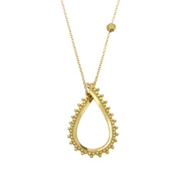 NECKLACE/GRANES/DAKRU OPEN 2.6*1.8cm LOUSTRE & GRANES/CHAIN ROUND DIAMANTE 42cm-SML BALL GRANES
