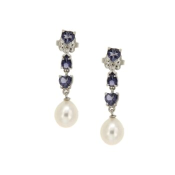 EARRING/AOR/F542A02/BLUE IOLITE/3 IOLITE & WHITE DROP 7*9mm (ΑΠΟ ΜΕΤΑΤΡΟΠΗ)