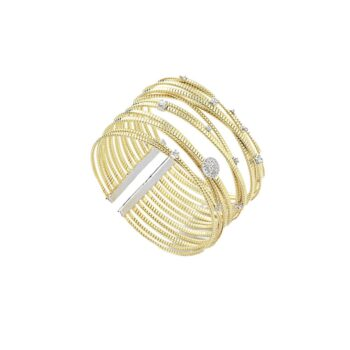 BRACELET/MARCELLO PANE/BFO088/BANGLE 13 YELLOW WIRE LINKS - 1 ROZETA CZ & 12 PCS CZ