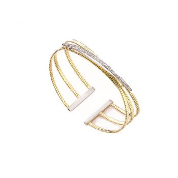 BRACELET/MARCELLO PANE/BFO108/BANGLE 3 YELLOW WIRE LINKS - 1 LINE CZ