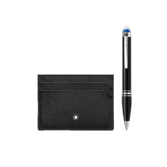 123755/SET STARWALKER RESIN BALLPOINT 118846 & SARTORIAL POCKET HOLDER 1146013 5CC/BLACK