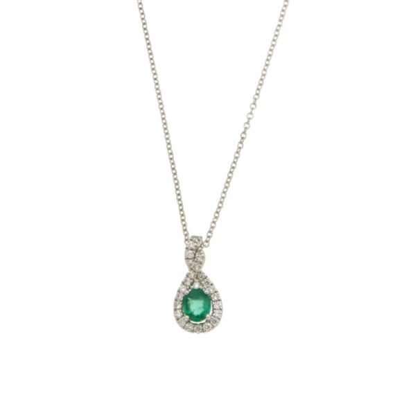 NECKLACE/VISCONTI/AB848/S/PEAR DESIGN WITH OVAL EMERALD & BR