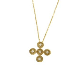 NECKLACE/KOUZOUPI/994002TBB9887E/1 SML CROSS SATIN - WIRE PLAISIO - 5 BR