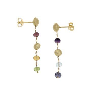 EARRING/MARBI-COL/6 MULTI COLOR STONES/ROUND 1* 6mm & 1*5mm/CHAIN ROUND DIAMANTE
