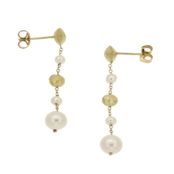EARRING/MARBI-PRL/ROUND 1* 6mm & 1*5mm - WHITE PRL 1*6.5mm & 2*3.5mm/CHAIN ROUND DIAMANTE