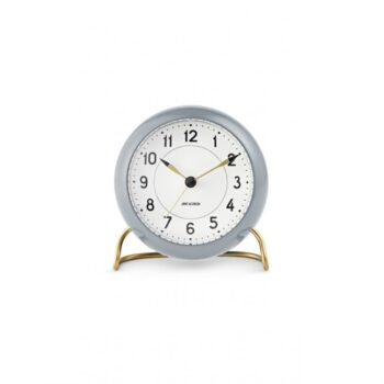 WATCH AJ/TABLE CLOCK -ALARM/STATION/43674/WHITE DIAL-GREY CASE
