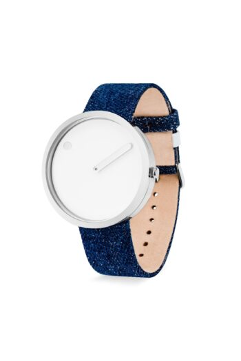 WATCH PICTO/43364-5220S/40mm/WHITE DIAL-POLISHED STEEL CASE/ DARK BLUE DENIM STRAP