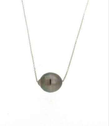 NECKLACE/BLACK PRL BAROQUE 12-15mm/CHAIN ROUND DIAMANTE 025/42-45m