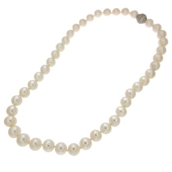 NECKLACE/PEARLS ROUND WHITE 11-12mm + 5PCS 11-12mm /XIF1368W-29838/52cm